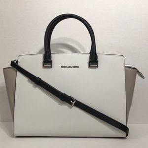 Michael Kors large white/grey/black satchel bag